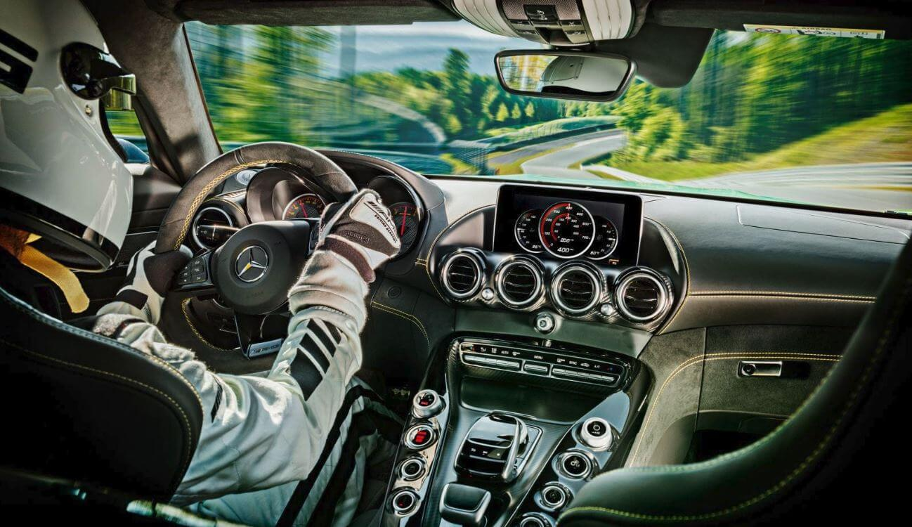 Mercedes AMG GT R interior with driver