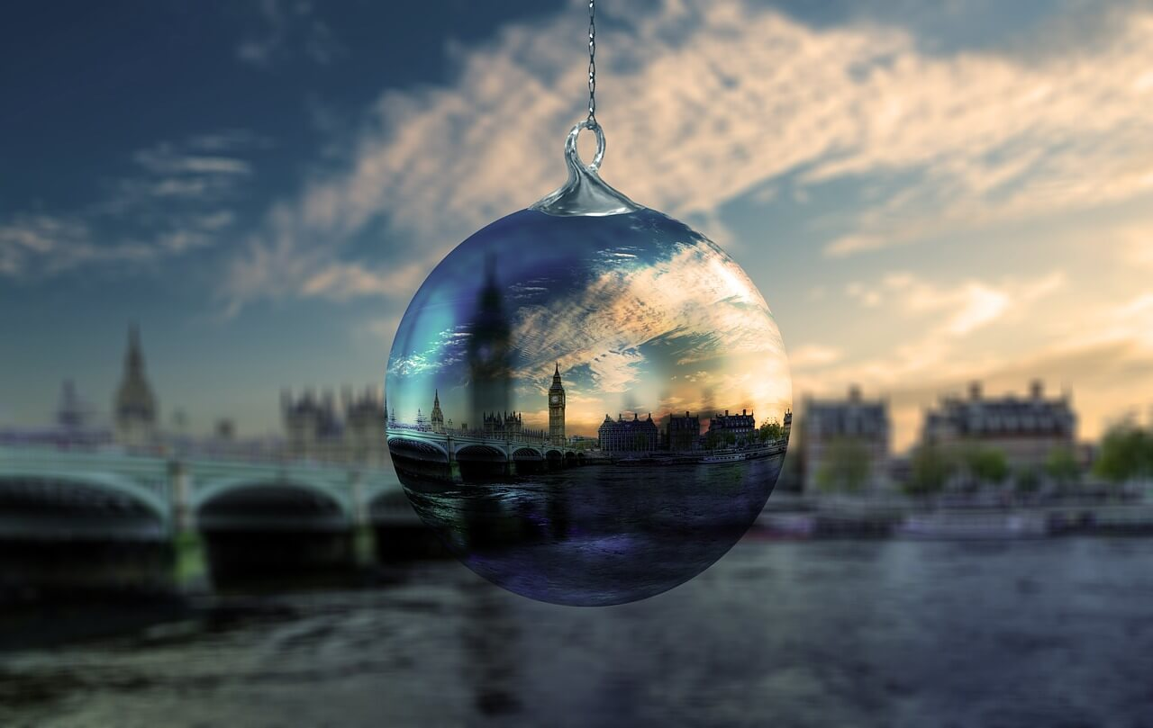 Image of london through a glass bauble