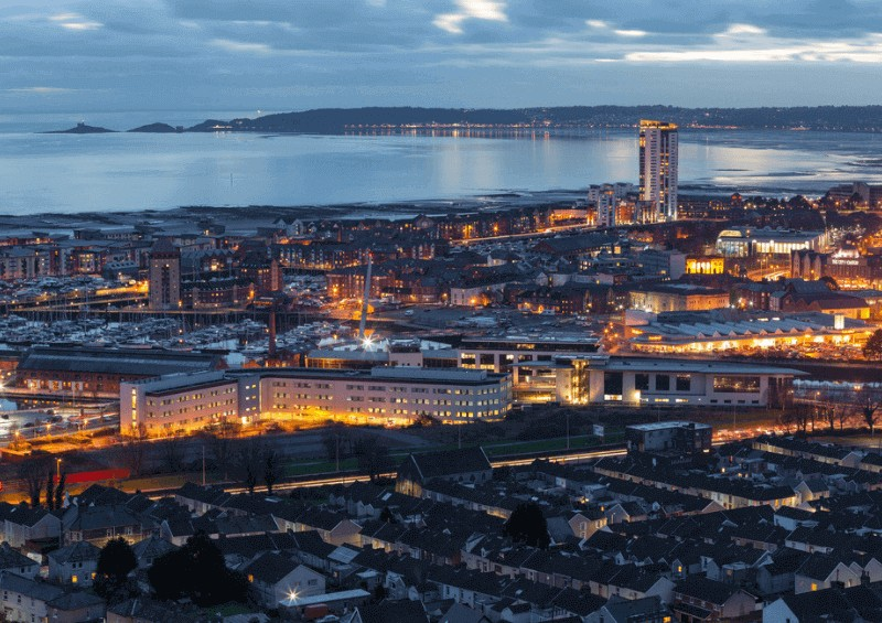 A night view of Swansea city