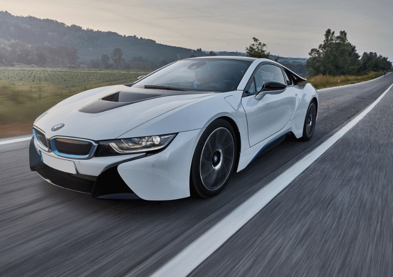 BMW i8 coup being driven on road