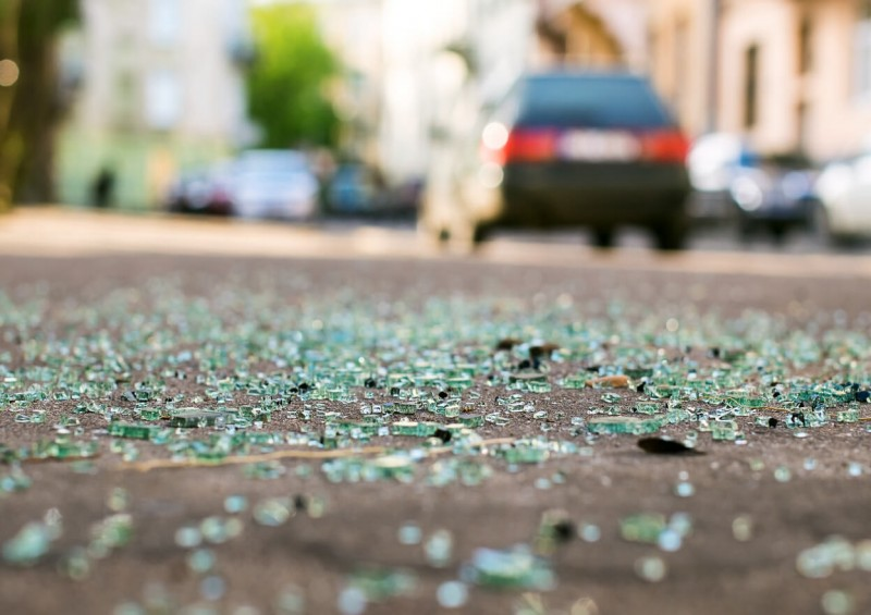 Broken glass on the road after car accident