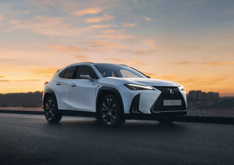 Lexus with sunset behind