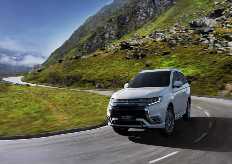 Mitsubishi Outlander PHEV on winding country road